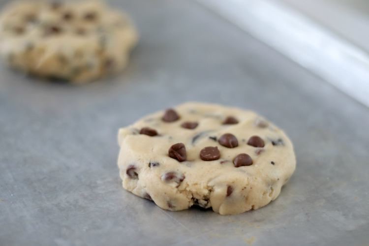 unbaked cookie dough on baking sheet