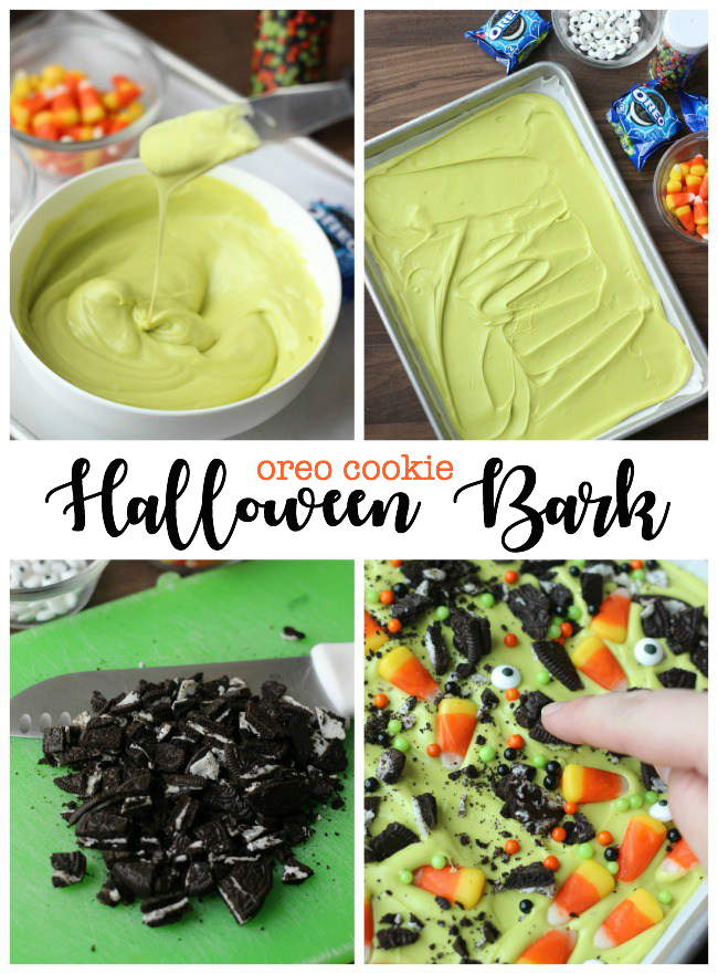 A not-so-spooky Halloween treat. Kids love helping in the kitchen and this Halloween Oreo bark is the perfect recipe to make with them! Make a batch this Halloween!