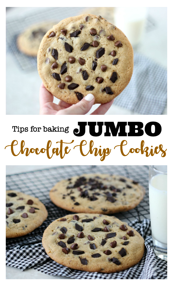 Jumbo chocolate chip cookies that are soft, chewy, baked evenly, and delicious! These make GREAT gifts! 1 cookie = 4 regular sized cookies.