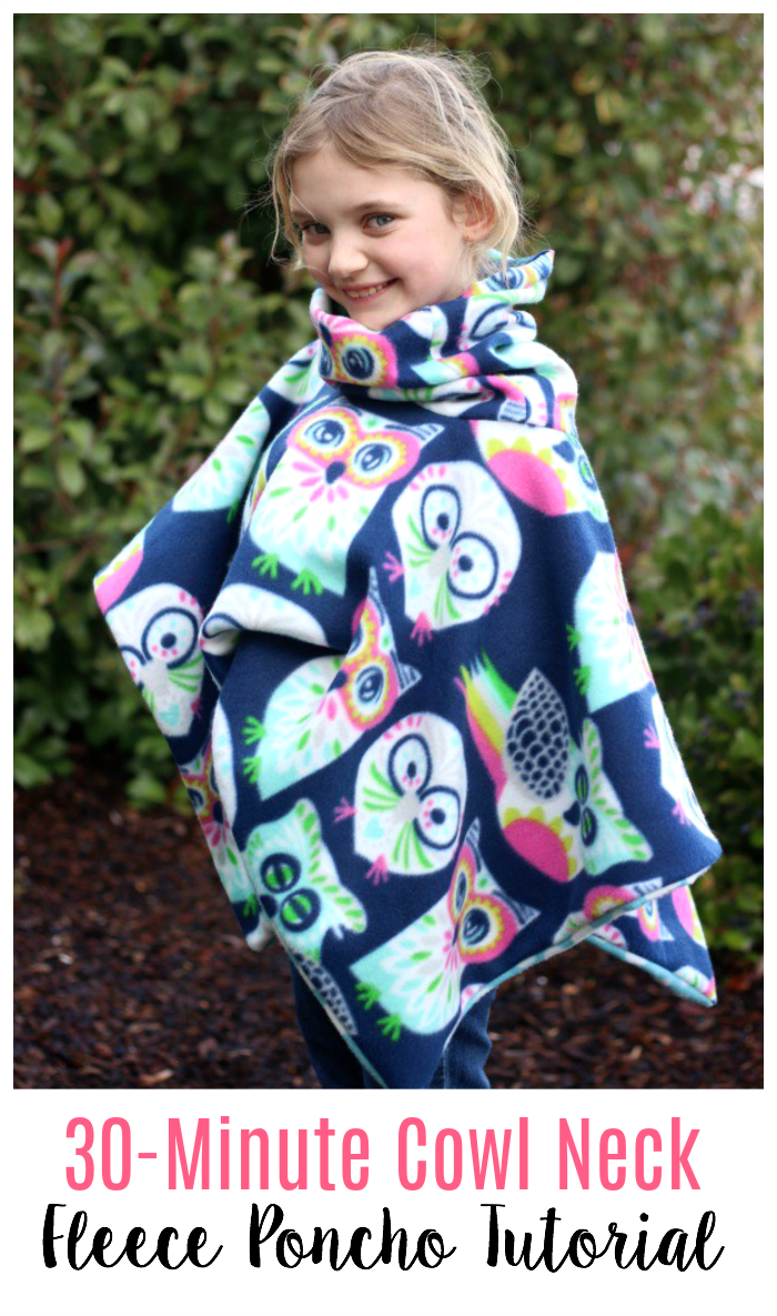 2 yards of fleece and 30 minutes of time is all you need to make this darling cowl neck fleece poncho that is perfect for snuggling up in on a cool day! It even has a hood! Double layered with a cozy cowl that also works as a hood! This simple sewing project is great for beginners.
