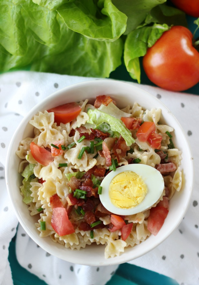 This classic BLT pasta salad combines crispy bacon, locally grown produce, and bow tie pasta. Tossed in a creamy ranch dressing, it's sure to be a hit at any gathering!