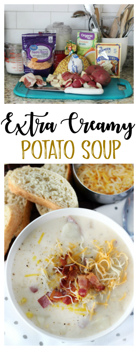 This 30-minute creamy potato soup is what comfort food is all about! Red potatoes, corn, cheese, bacon crumbles and thickened with country gravy!