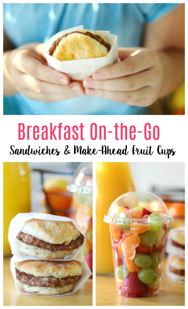 A hot breakfast sandwich and an on-the-go fruit cup! Eat individually or pair together for a hearty and quick on the go breakfast!