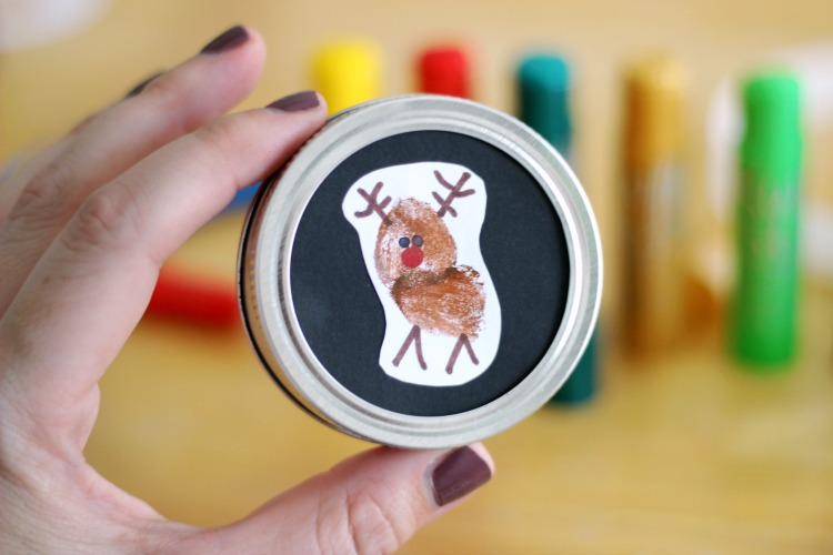 front of reindeer thumbprint ornament