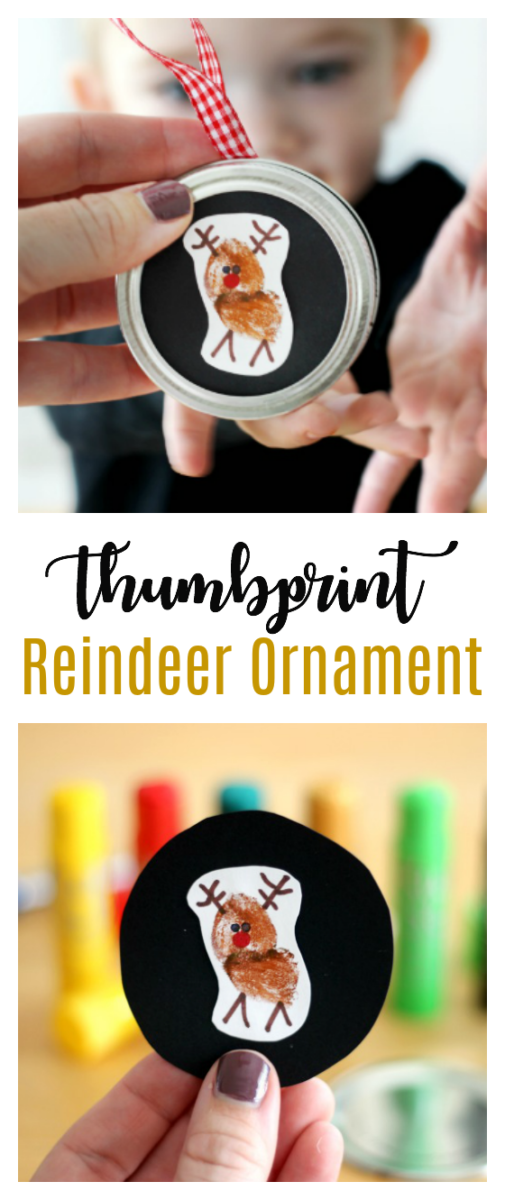 reindeer thumbprint ornament for kids