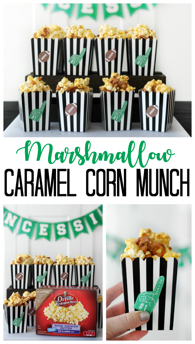 Sweet, salty, buttery, sticky, and crunchy--this marshmallow caramel corn is the perfect snack to munch on with friends!