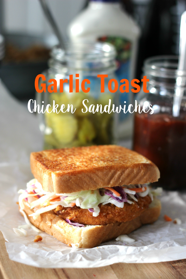 A delicious chicken sandwich station for game day! Served on garlic toast with a variety of fixings, a veggie platter, and other snacks!