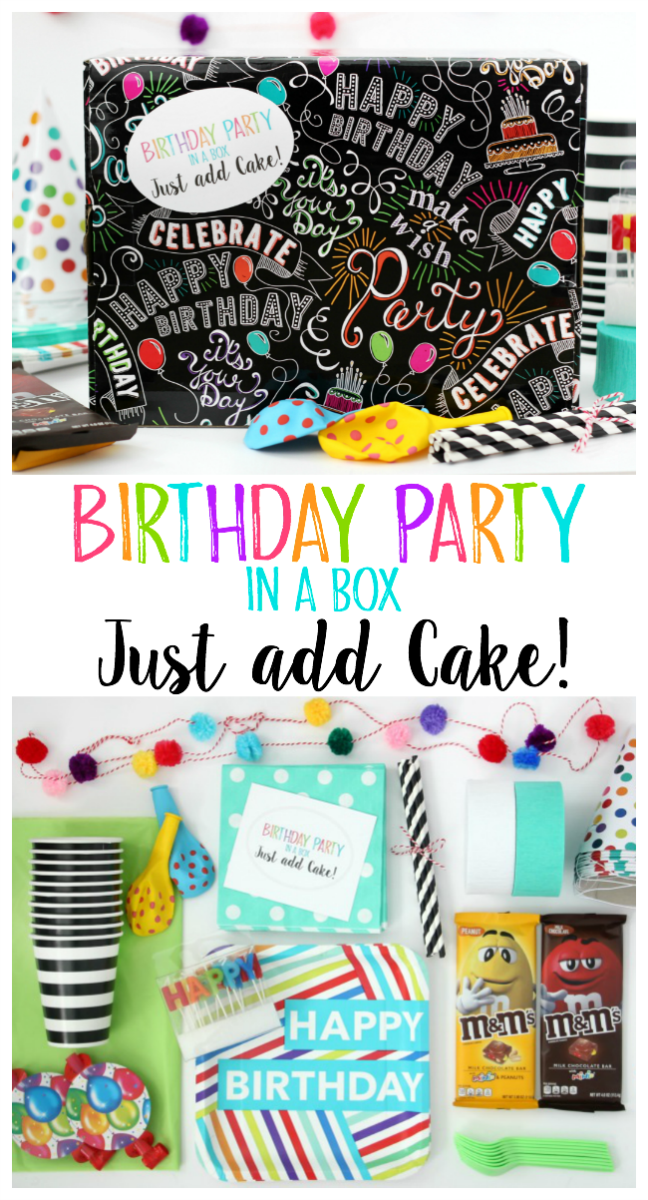 Send a friend a birthday party in a box this year. All they need to do is supply the cake! Comes with party decor, serving ware and a printable tag!