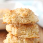3 cheddar biscuits stacked together