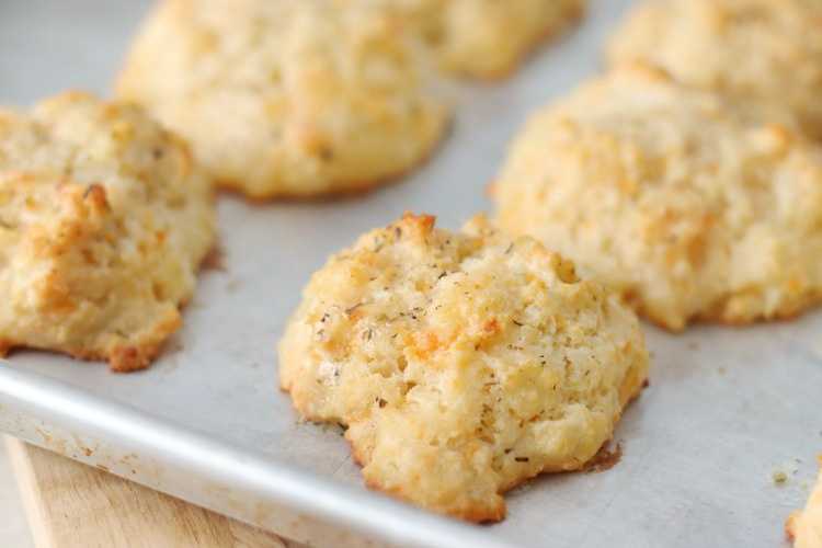 baked biscuits on baking sheet