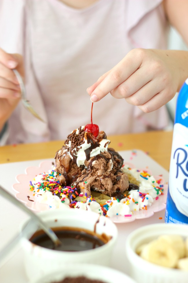 Kids will love making chocolate chip waffle sundaes! Set out a variety of toppings, a plate of your favorite waffles and let them have fun!
