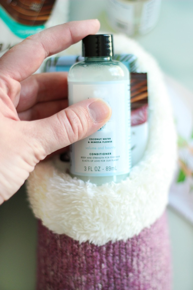 slipper with Mother's Day pampering gift supplies tucked inside