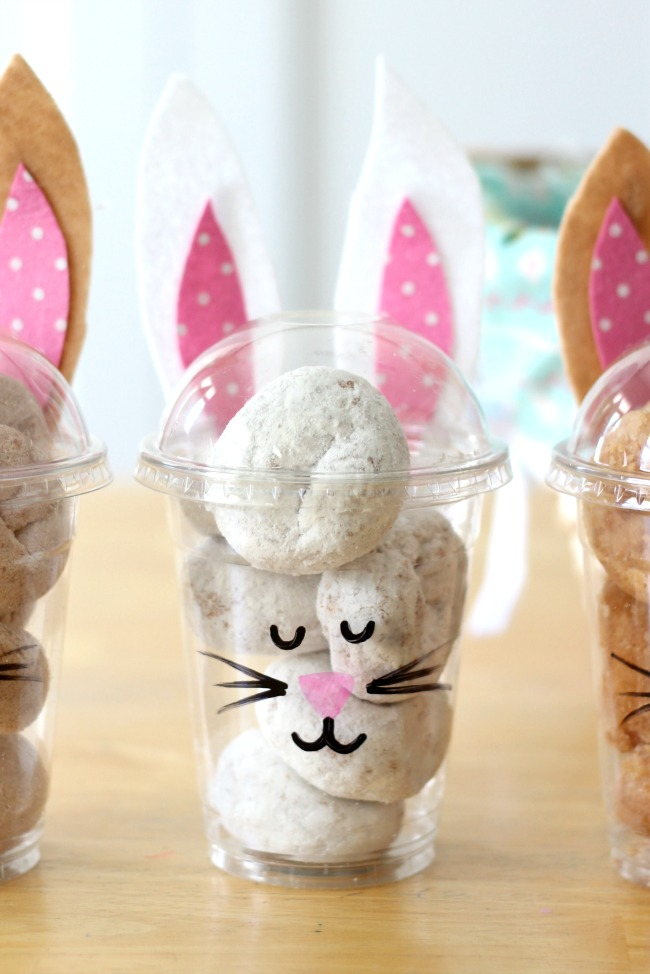 finished powdered sugar white bunny treat cup