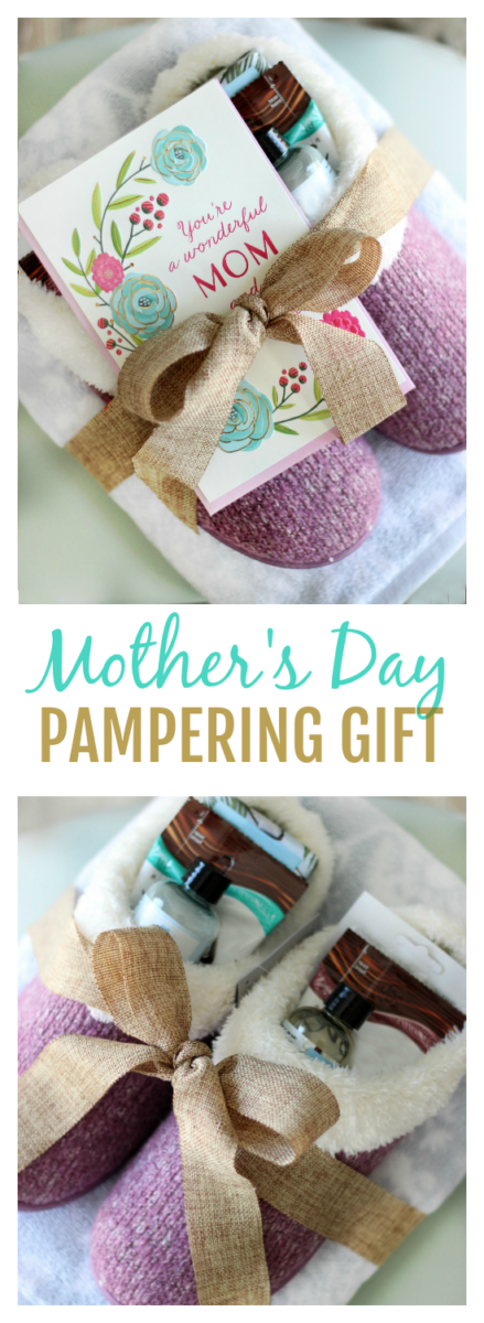 A luxurious Mother's Day pampering gift that includes everything that mom needs to unwind after a long day: towel, slippers, soap, facial and MORE!