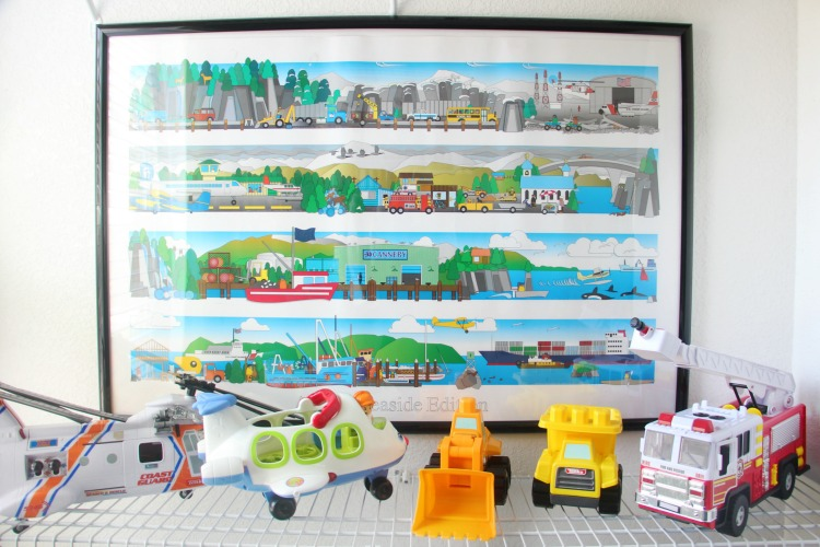 vehicles wall decor in toddler bedroom closet