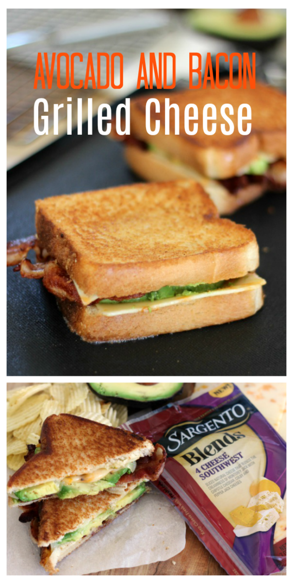 This avocado bacon grilled cheese sandwich is the ultimate lunch. Crispy bacon, creamy avocado, and cheese slices piled onto grilled Texas toast!