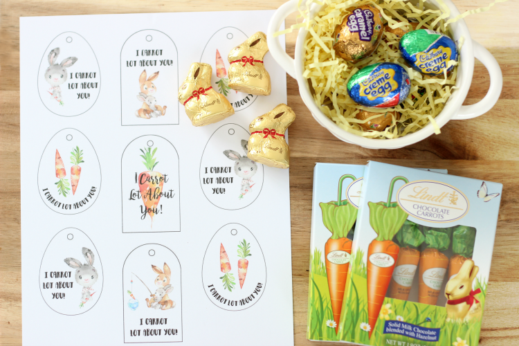 uncut printable easter tags and chocolates for basket