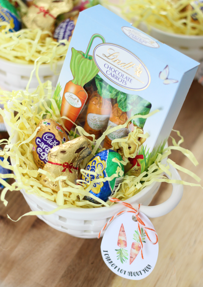 finished easter basket with printable easter tags