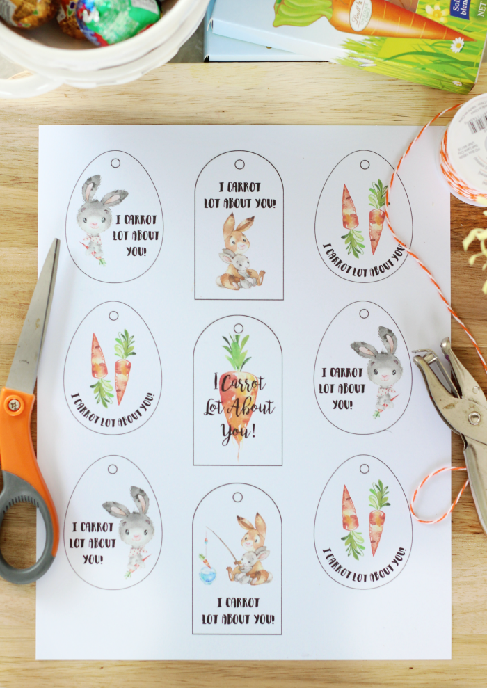 "Fill a basket or mug with Easter goodies and add one of these darling ""I Carrot Lot About You"" printable Easter tags for a quick and easy gift for a friend or teacher!"