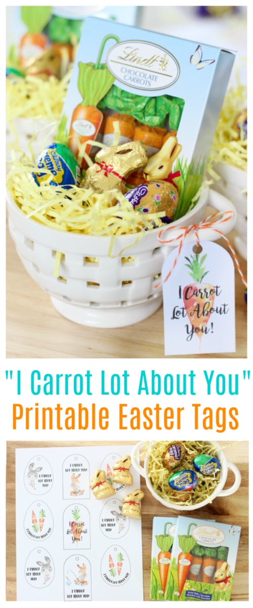 "Fill a basket or mug with Easter goodies and add one of these darling ""I Carrot Lot About You"" printable Easter tags for a quick and easy gift!"