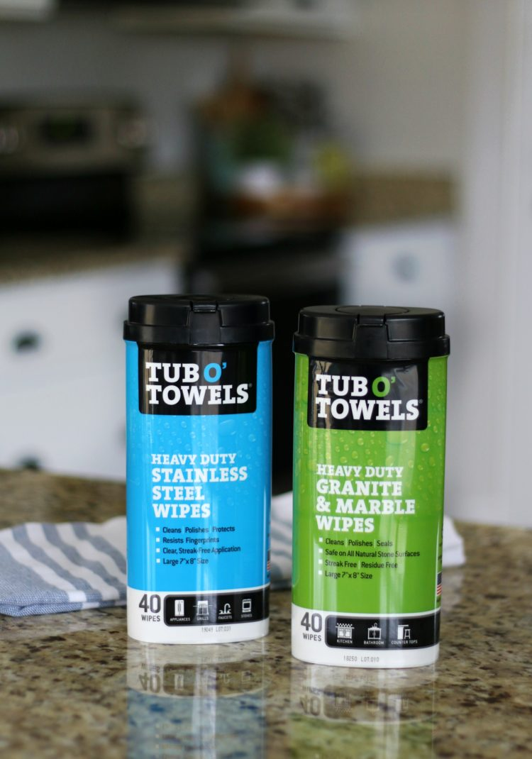 two containers of tub o towels countertop cleaning wipes