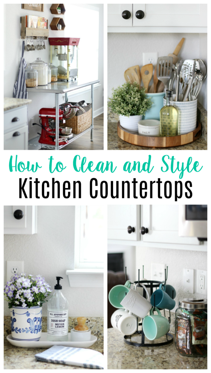 How to style and clean kitchen countertops in any home. Whether your kitchen is big or small, here are 5 stylish and functional countertop displays and tips for cleaning all countertop surfaces!
