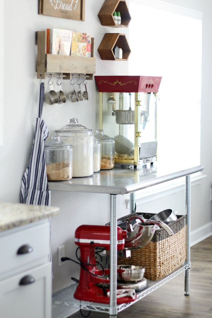 style and clean kitchen countertops stainless steel work table for baking with canisters of four and sugar