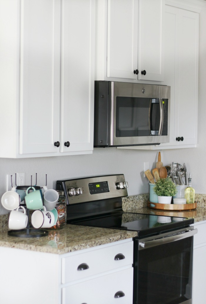 kitchen counter styling hot cocoa bar and baking utensil display