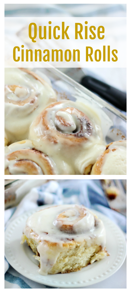 Cinnamon rolls don't have to take all morning to make! These quick rise cinnamon rolls only rise for 30 minutes and are as soft and delicious as ever!