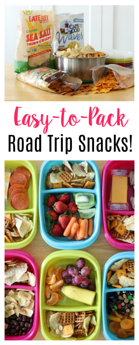 Fill plastic snack containers with a variety of sweet, salty and savory road trip snacks! The perfect individual portion size with a lid!