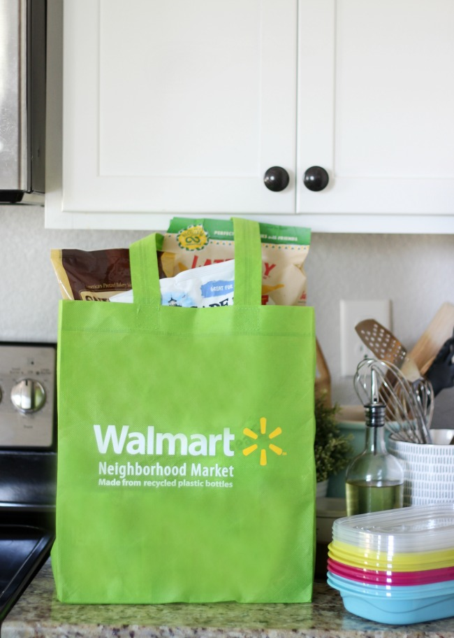 walmart bag with road trip snacks inside