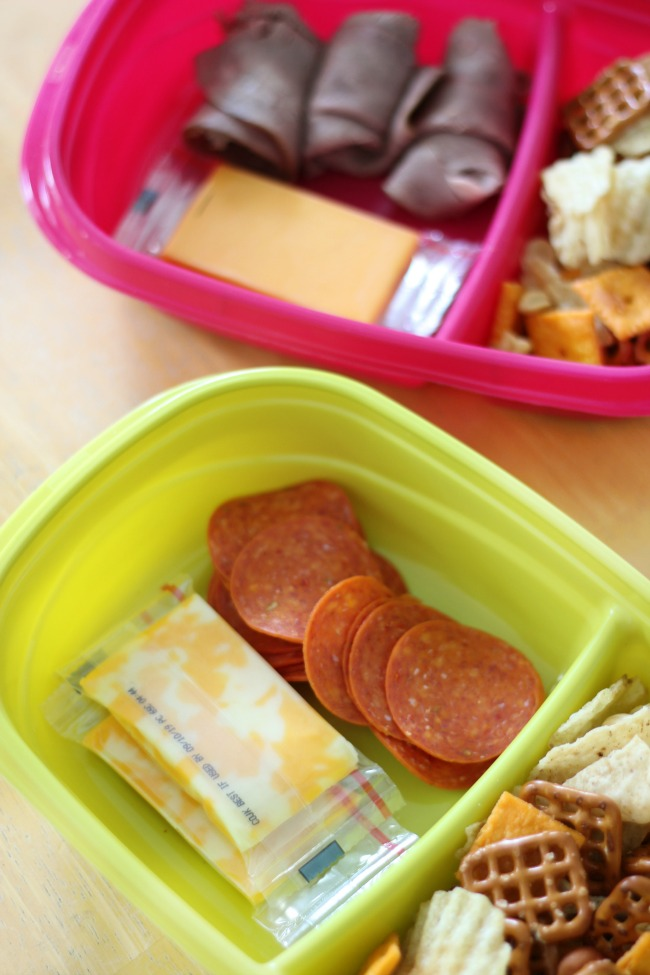 savory road trip snacks cheese, pepperoni and pretzel snack mix