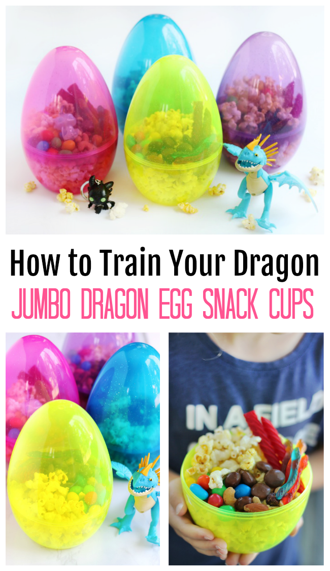 Giant Easter eggs work great as dragon egg snack cups! Perfect for How to Train Your Dragon parties, movie nights, and activities!