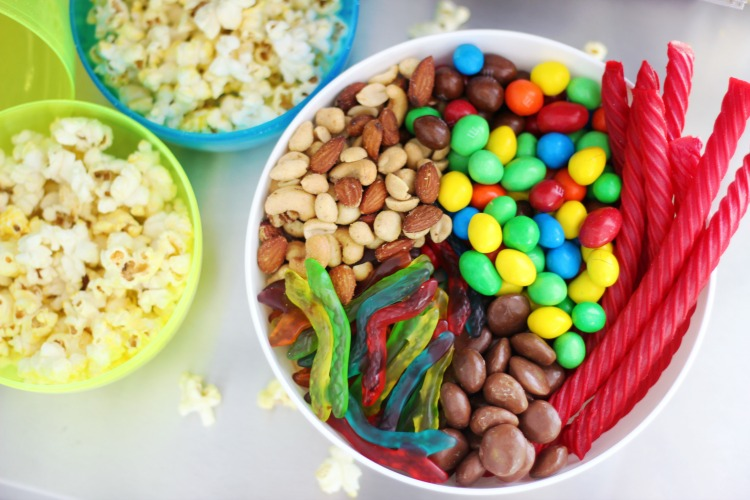 bowl of popcorn and movie candies