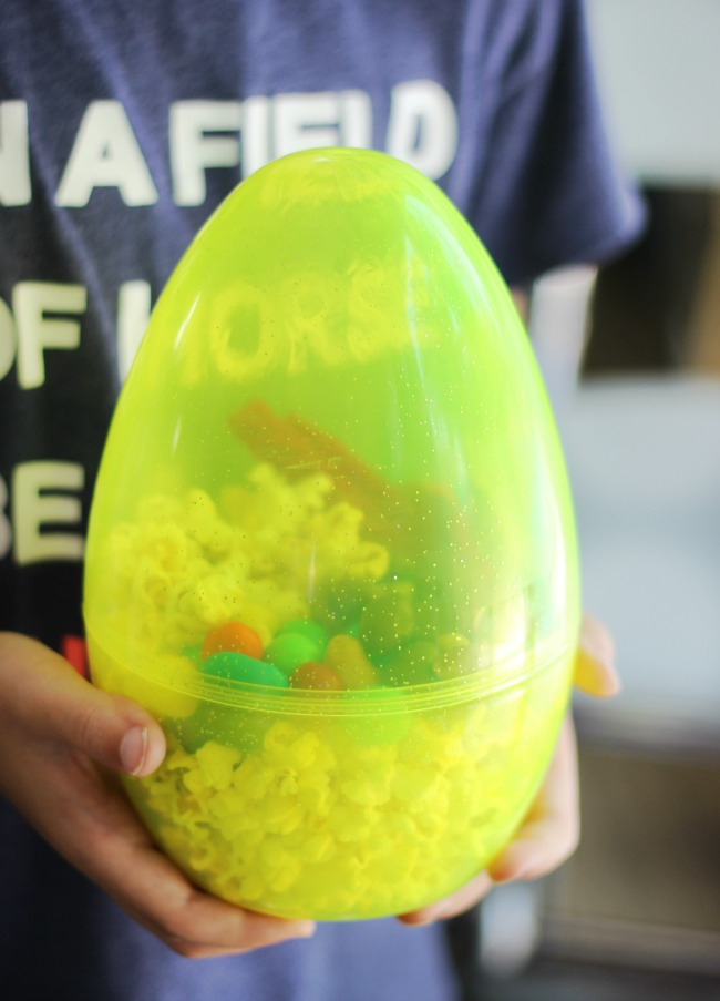 giant easter egg used as a popcorn cup