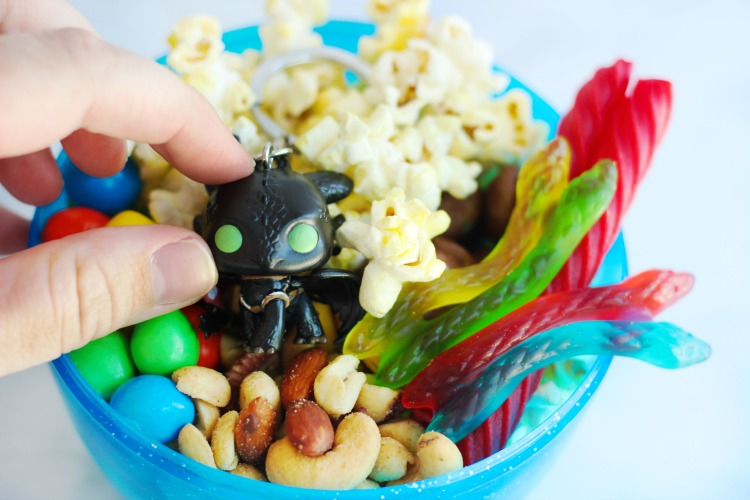 night fury dragon toy in a bowl of movie snacks