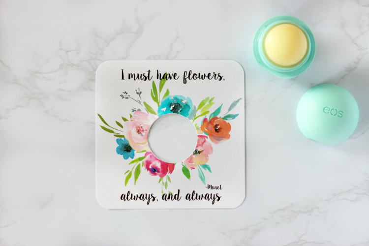 printable card with open lip balm next to it