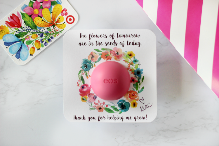 EOS floral printable finished next to target gift card
