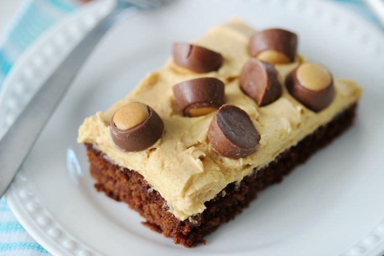 slice of chocolate peanut butter sheet cake