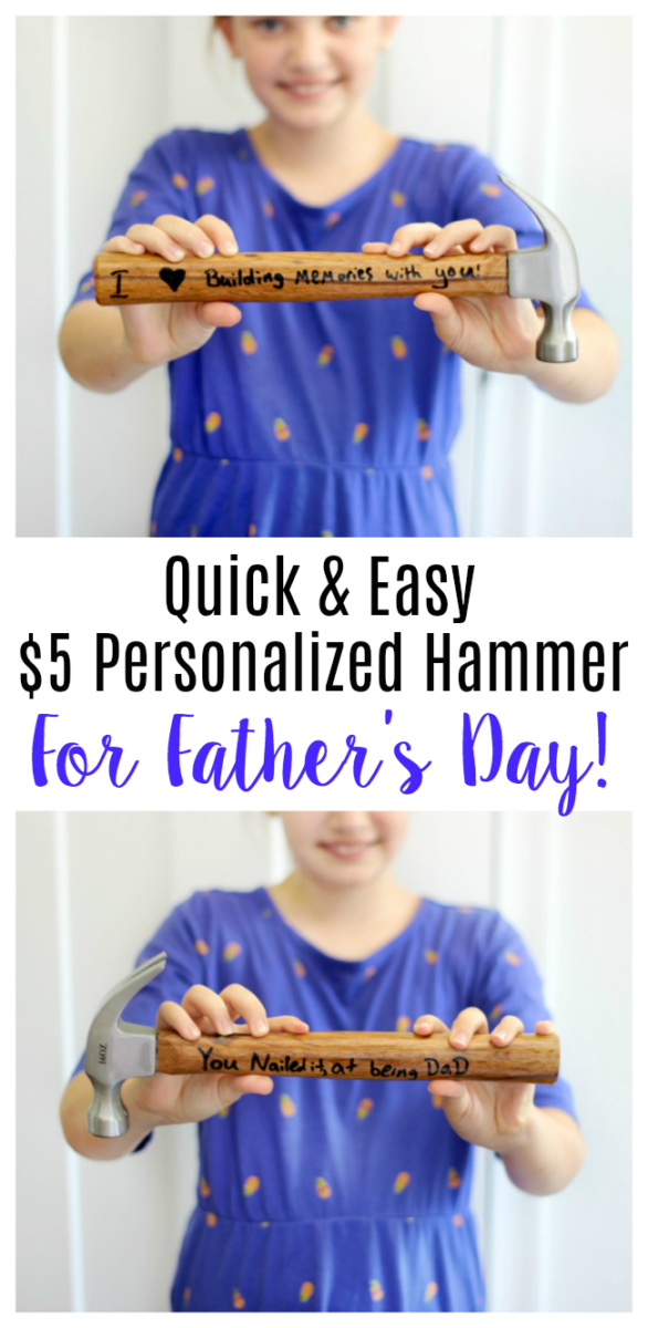 This DIY personalized hammer is such a great gift for kids to make for dad.  Grab a $3.88 hammer and an oil-based sharpie pen and write a cute sentiment on the hammer handle!