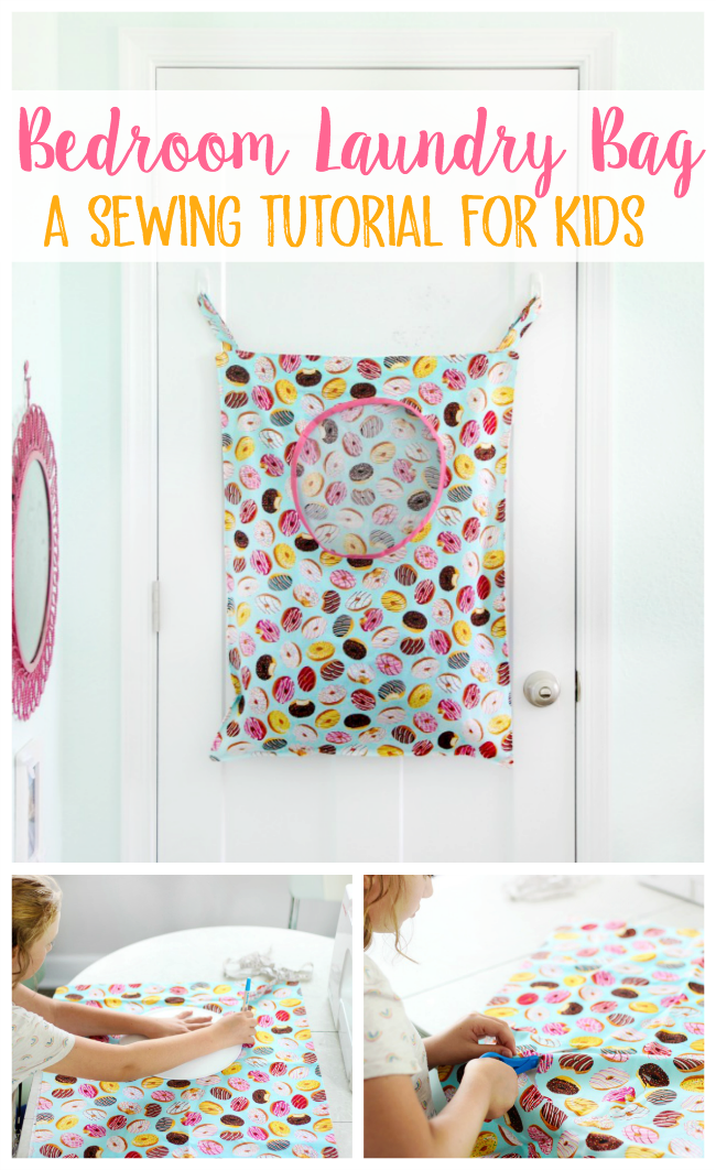 This kids laundry bag sewing tutorial comes together in about 30 minutes. It has an opening for laundry and hangs on the back of the door!