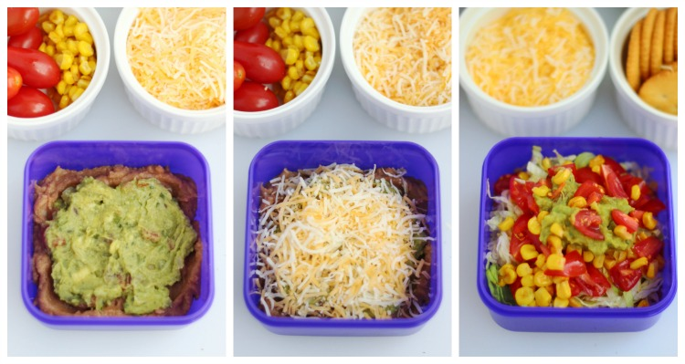 process shots of Mexican layered dip