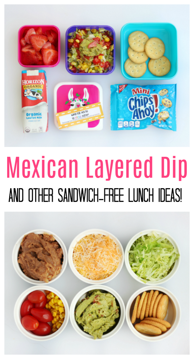 Think outside the pb&j with these creative sandwich free lunch ideas for kids including Mexican Layer Dip, Roast Beef Sliders, or Lettuce Rolls Ups!