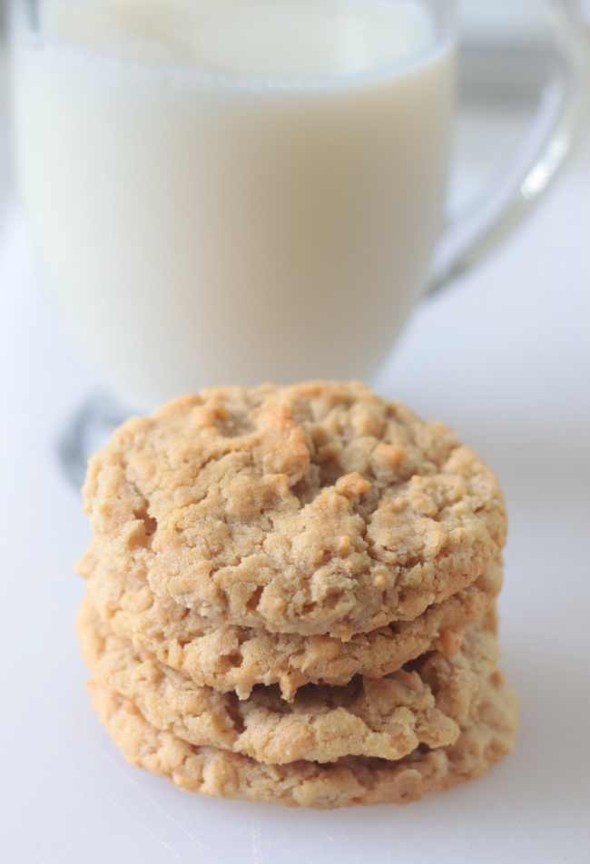 stack of poor man's cookies and glass of milk