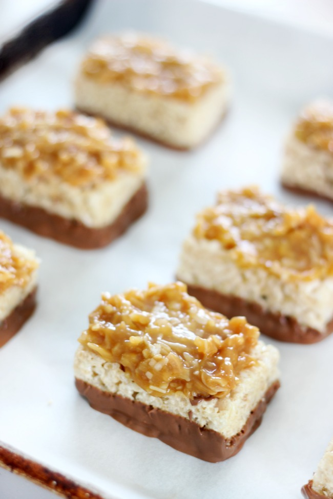 samoas Rice Krispies treats on baking sheet without drizzled chocolate