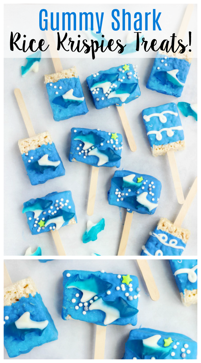 Gummy Shark Rice Krispies treats are the perfect snack for Shark Week! They are easy for kids to make and customize with melting chocolate, gummy sharks and sprinkles!
