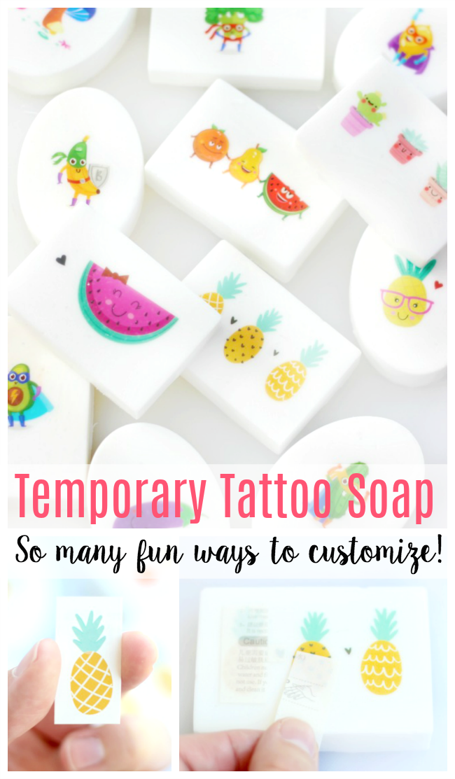 DIY tattoo soap bars are easy for kids to make, and the temporary tattoo stays on the bar of soap even after many washings! Add fun scents, too!