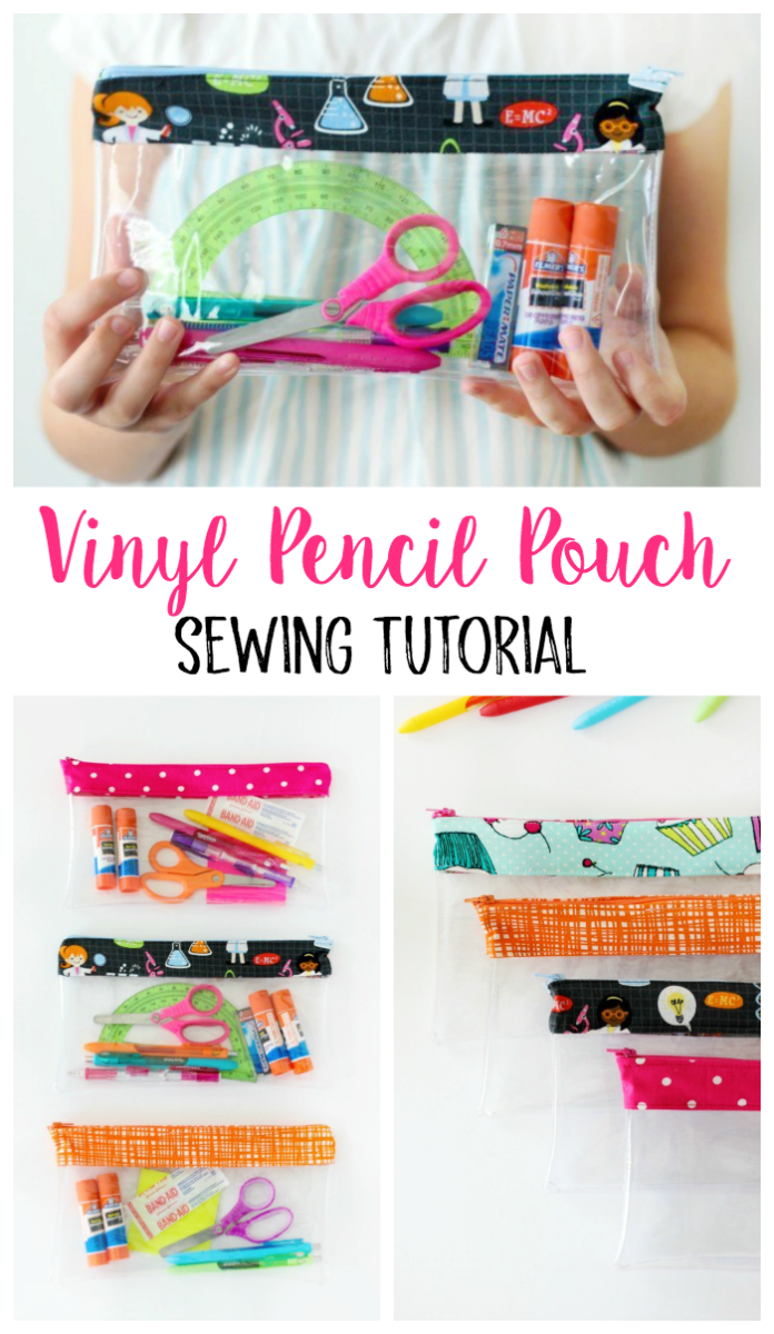 "A simple vinyl pencil pouch tutorial with step-by-step photos for making a pencil pouch for school! This 10"" x 6"" pouch is large enough to hold anything you might need including pencils, pens, glue sticks, or scissors!"