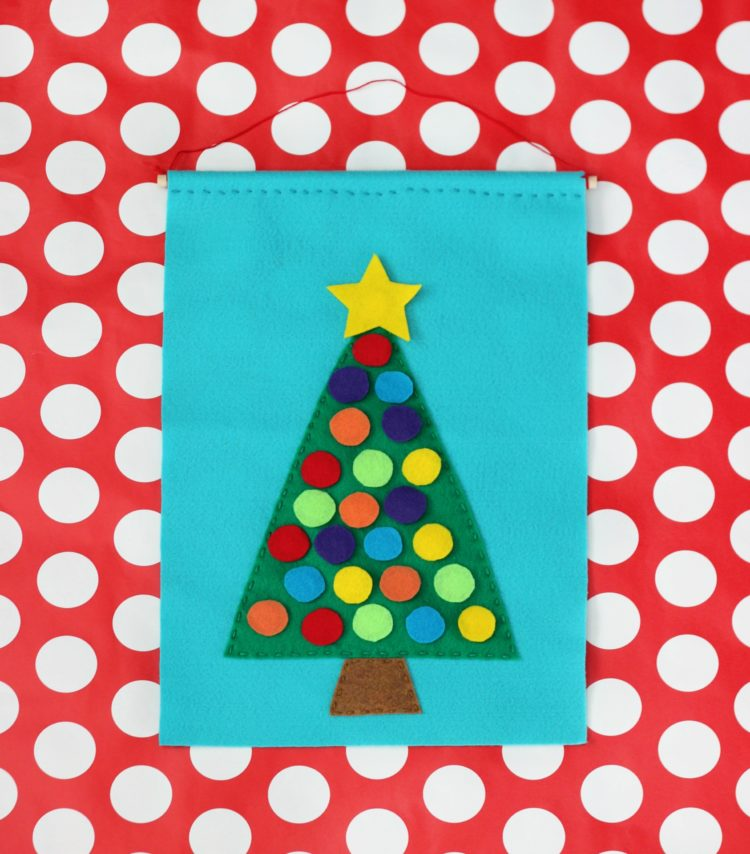 diy Christmas tree advent calendar on polka dot table cloth