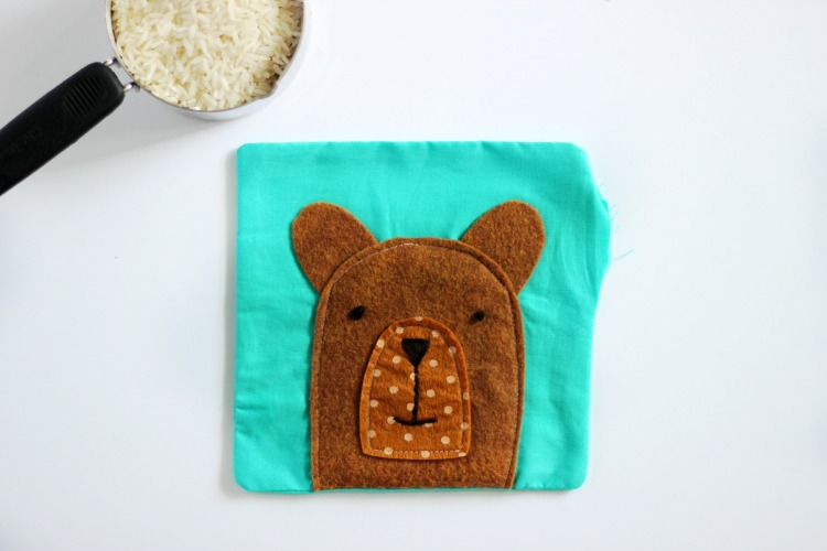 teddy bear rice pack turned right side out, ready to fill with rice
